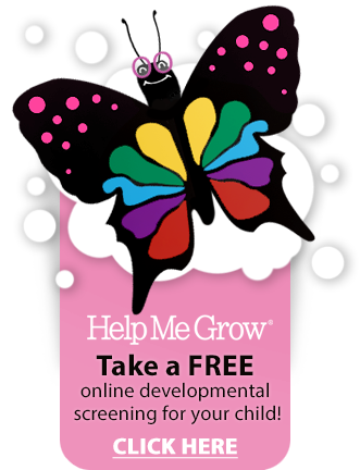 a colorful butterfly with glasses, the mascot for our Help Me Grow program
